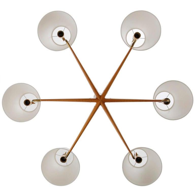 Mid-20th Century Pendant Light Chandelier 'Holzstern' by J.T. Kalmar, Brass Walnut Wood, 1960s For Sale