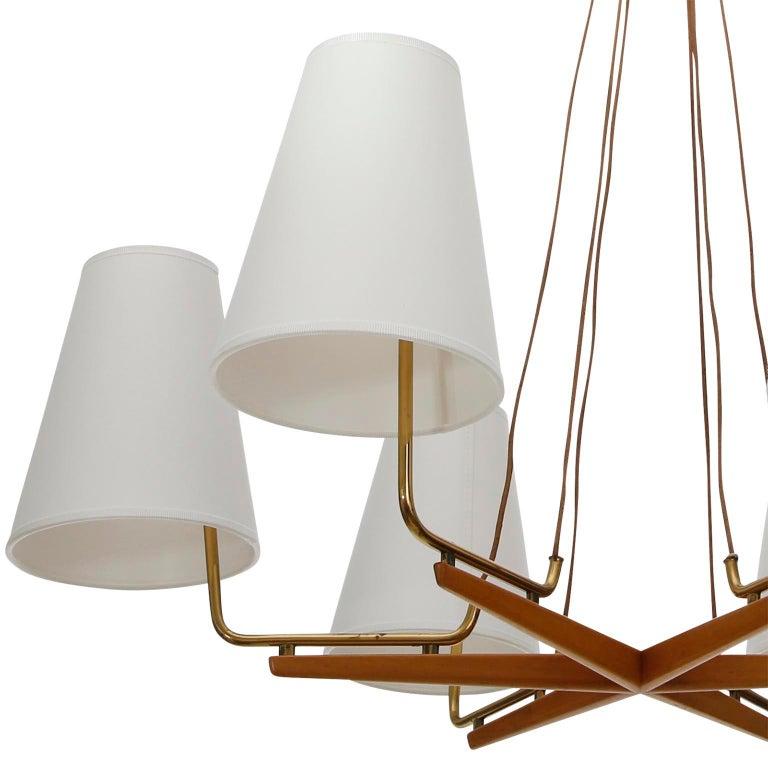 Textile Pendant Light Chandelier 'Holzstern' by J.T. Kalmar, Brass Walnut Wood, 1960s For Sale