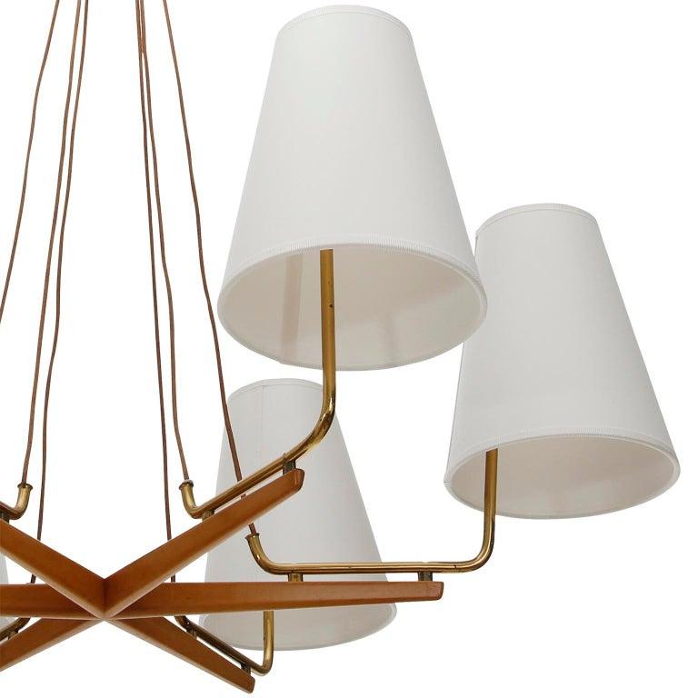 Pendant Light Chandelier 'Holzstern' by J.T. Kalmar, Brass Walnut Wood, 1960s For Sale 1