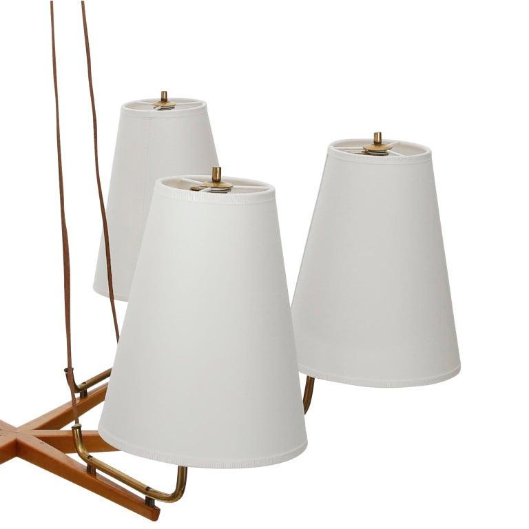 Pendant Light Chandelier 'Holzstern' by J.T. Kalmar, Brass Walnut Wood, 1960s For Sale 2