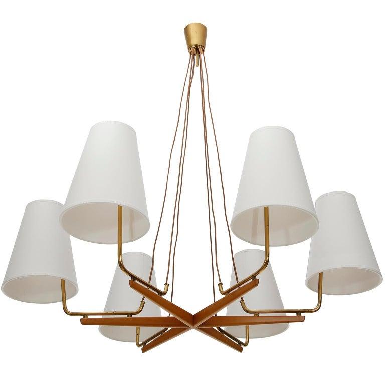 Pendant Light Chandelier 'Holzstern' by J.T. Kalmar, Brass Walnut Wood, 1960s For Sale