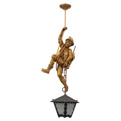 Pendant Light Fixture Carved Wood Figure Climber with Lantern, Germany