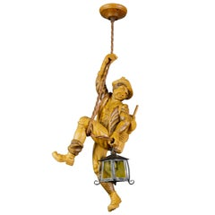 Pendant Light Fixture Hand Carved Wood Figure Climber with Lantern, Germany