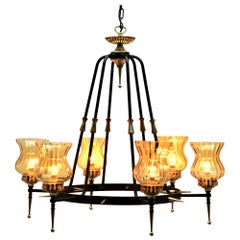 Pendant Light Forget Metal and Solid Brass Details Whit Optical Lampshades