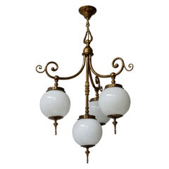Pendant Light in Brass and Opaline Glass
