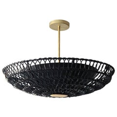 "34"" Pendant Light in Handwoven Black Rattan, Ventila Collection"