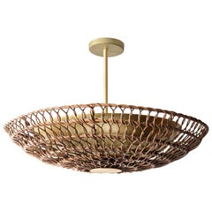 "34"" Pendant Light in Handwoven Honey Rattan, Ventila Collection"
