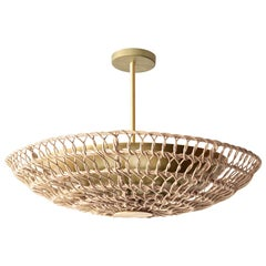 "34"" Pendant Light in Handwoven Natural Rattan, Ventila Collection"