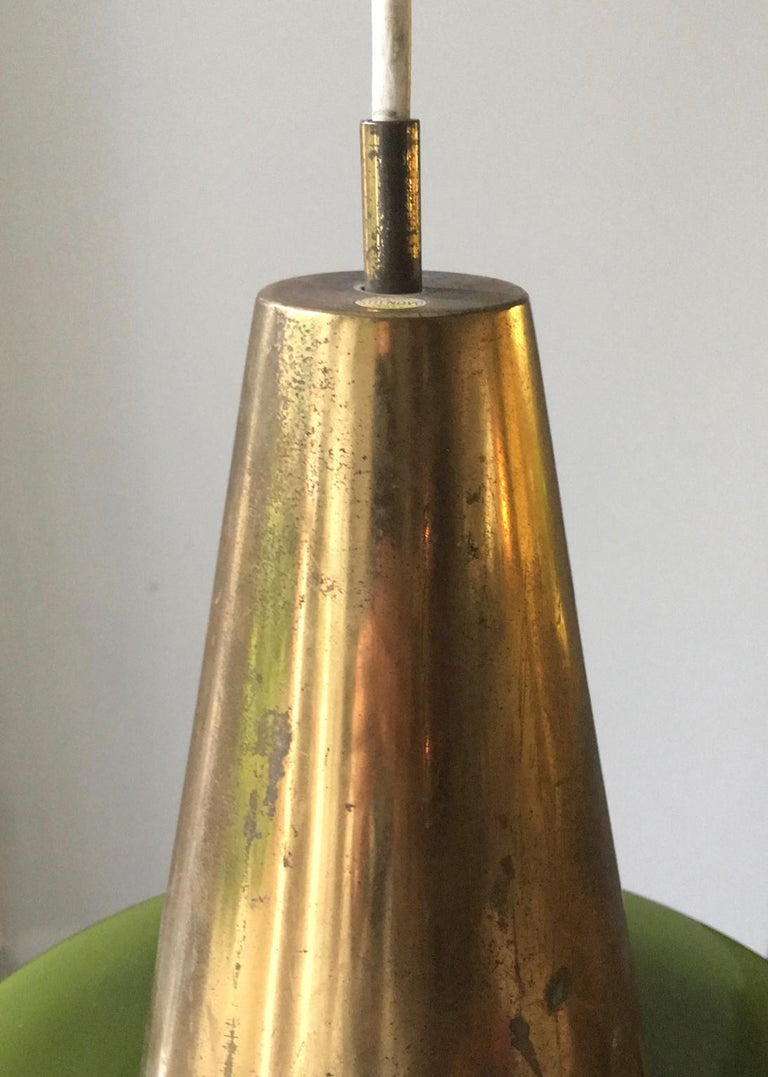 Italian Pendant Light of Brass and Green Cased Glass, by Stilnovo, Italy 'Yellow Label' For Sale