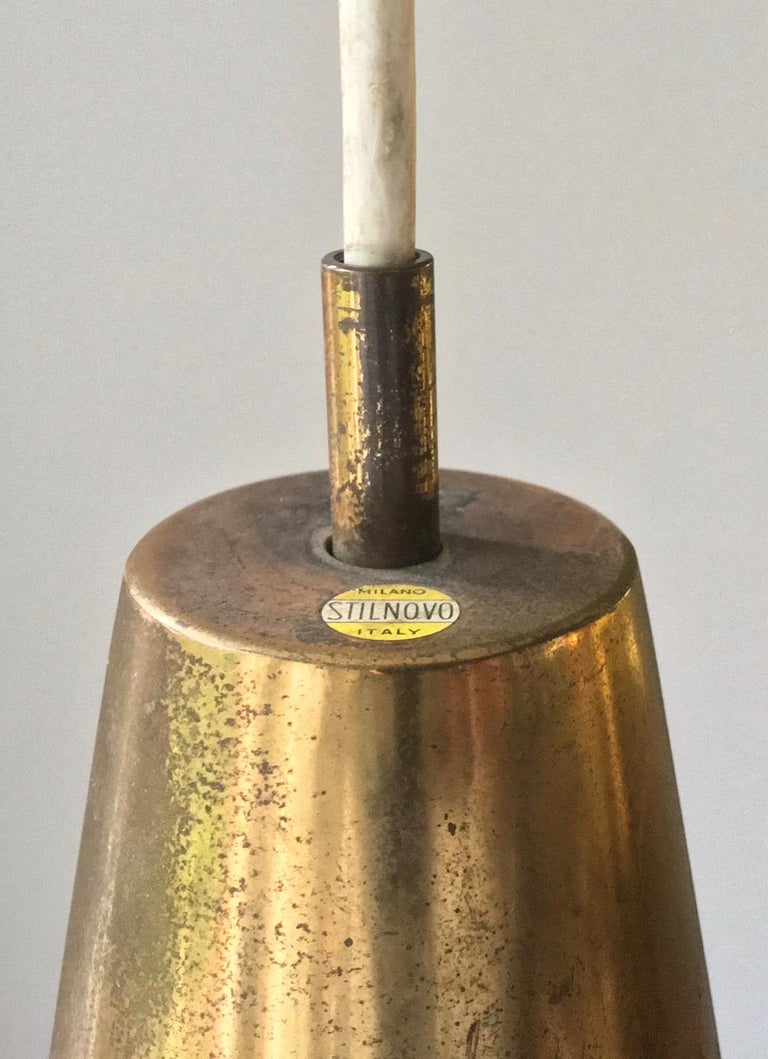 Pendant Light of Brass and Green Cased Glass, by Stilnovo, Italy 'Yellow Label' In Good Condition For Sale In London, GB