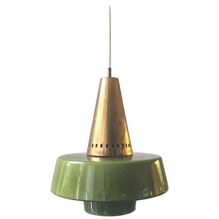 Pendant Light of Brass and Green Cased Glass, by Stilnovo, Italy 'Yellow Label' For Sale