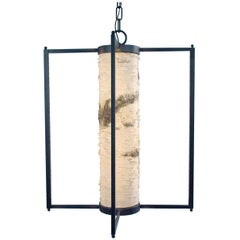 """Pendant Light """"Thru The Woods"""" with Natural Birch, Handmade in Italy, in Stock"""