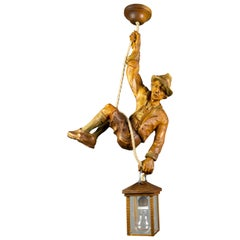 Pendant Light with a Large Wooden Figure Mountain Climber with Lantern, Germany