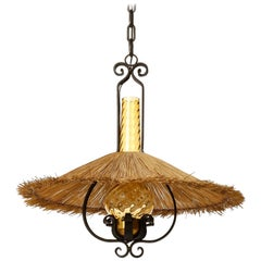 Pendant Light, Wrought Iron Brass Straw Amber Glass, 1960