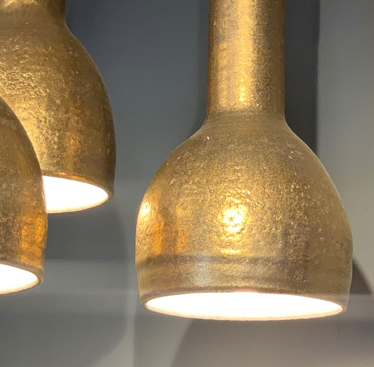 British Pendant Lights by Sotis Filippides Ceramic and 24-Carat Gold, 21st Century For Sale