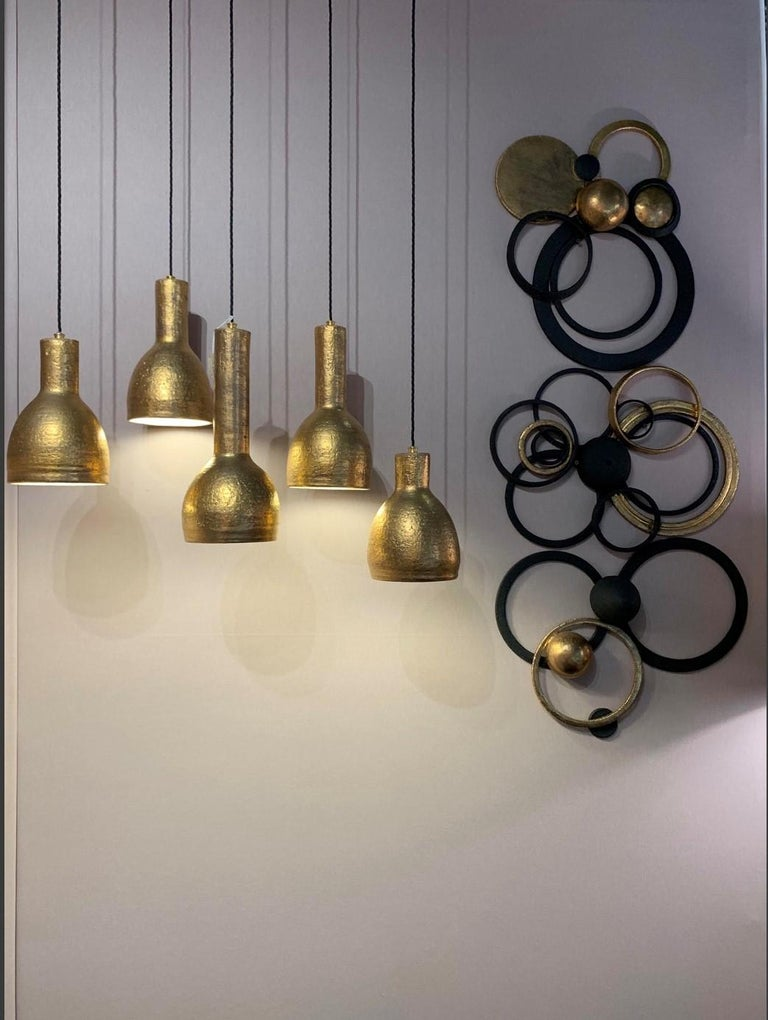 Pendant Lights by Sotis Filippides Ceramic and 24-Carat Gold, 21st Century In New Condition For Sale In London, GB