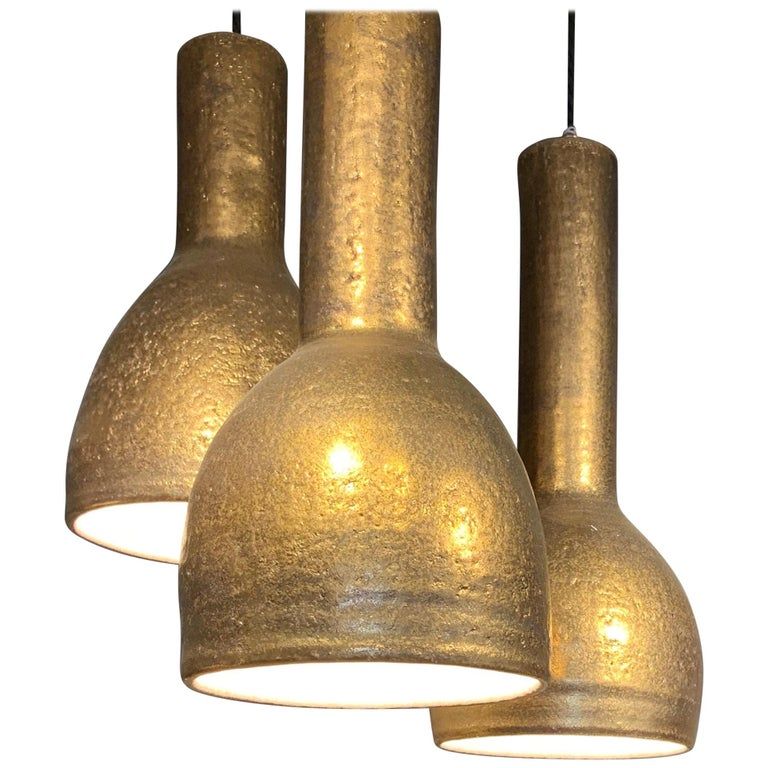 Pendant Lights by Sotis Filippides Ceramic and 24-Carat Gold, 21st Century For Sale