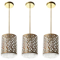 Pendant Lights, Patinated Brass and Bubble Glass, Rupert Nikoll, Austria, 1960