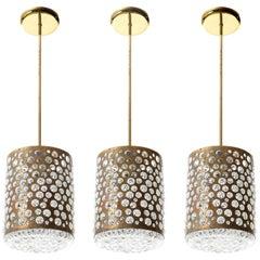 Pendant Lights, Patinated Brass and Bubble Glass, Rupert Nikoll, Austria, 1960