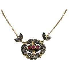 Pendant Necklace, Gold, Silver, Diamond, Ruby, Antique