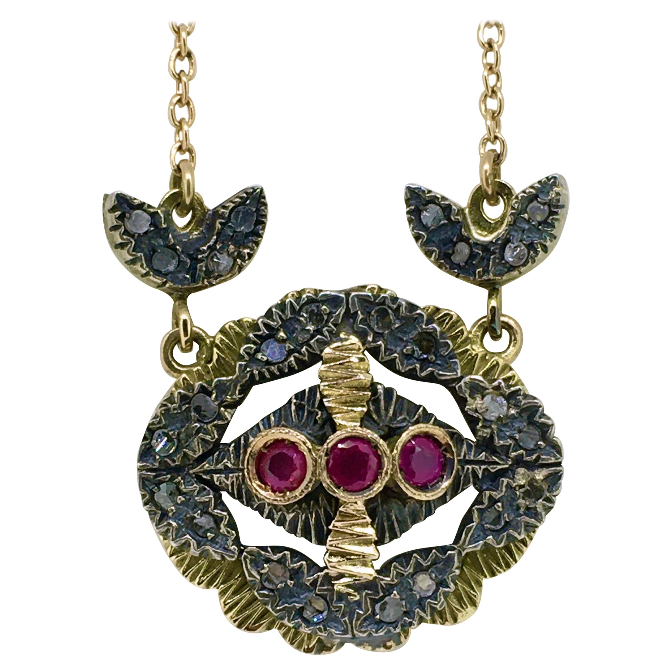 Pendant Necklace, Gold, Silver, Diamond, Ruby, Victorian