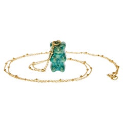 Pendant Necklace Gummy Bear Green  Unisex  18k Gold-Plated Silver  Greek Jewelry