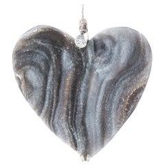 Heart Shaped Druzy Pendant with Diamond on 18 Karat White Gold