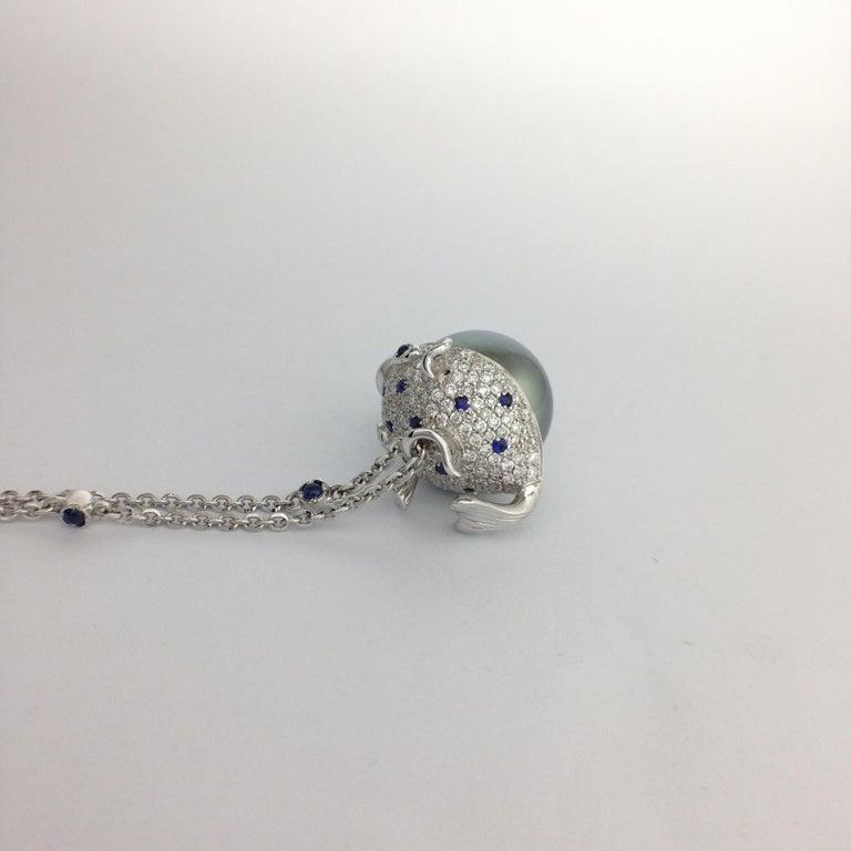 Pendant/Necklace Puffer Fish White Diamond Blue Sapphire Tahiti Pearl 18Kt Gold  For Sale 5