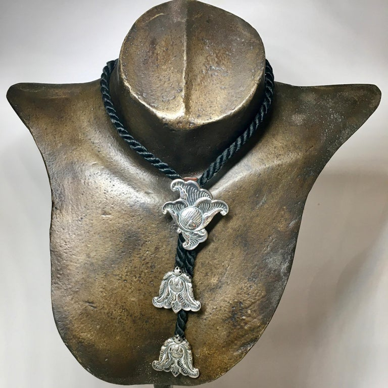 Pendant Necklace, Silver, Adjustable, Lotus Flower, Djokja, Indonesia For Sale 3