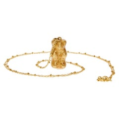 Pendant Necklace Chain  Glitter Gummy Bear 18k Gold-Plated Silver  Greek Jewelry