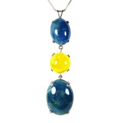 Pendant  of Two Cabochon Aquamarines Yellow Beryl and Sterling Silver