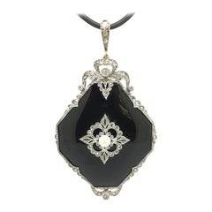Pendant, Platinum, Belle Epoque, Onyx, Diamond 0,94 Carat, 1920