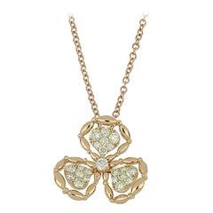 Pendant Rose Gold 18 Karat with Cream Diamond, Handmade