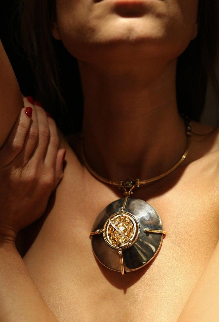 Women's Scaphandre Pendant Diamonds by Elie Top For Sale