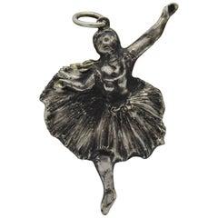 Sterling Silver Pendant, Ballerina, Degas, Handmade, Italy