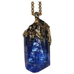 Mens Pendant Tanzanite Gold Big Rare Natural Crystal Raw Blue Tanzanite Gemstone