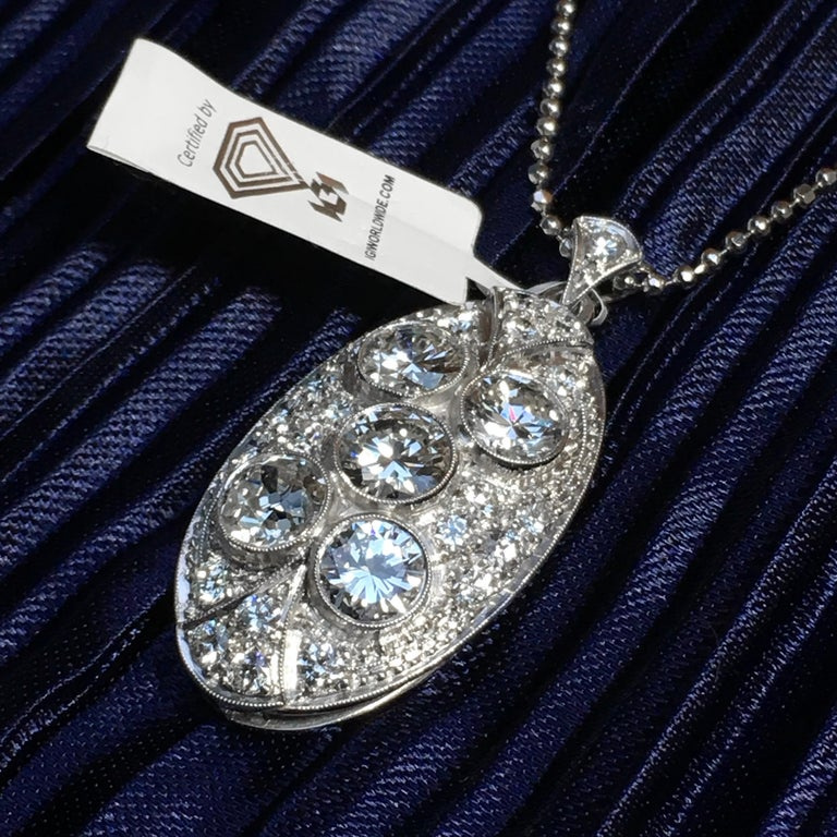 Pendant, White Gold, Art Deco, Diamond 4.75 Carat, IGI Certified For Sale 7