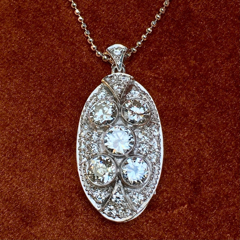 Pendant, White Gold, Art Deco, Diamond 4.75 Carat, IGI Certified For Sale 9