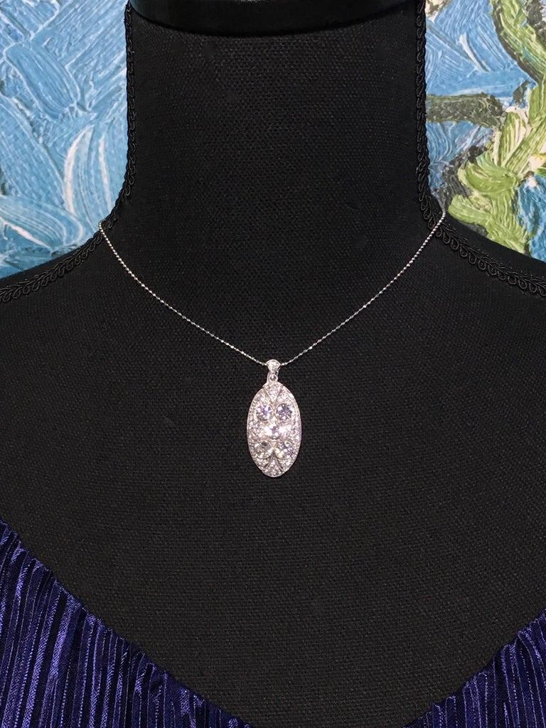 Pendant, White Gold, Art Deco, Diamond 4.75 Carat, IGI Certified For Sale 4