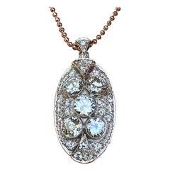 Pendant, White Gold, Art Deco, Diamond 4.75 Carat, IGI Certified