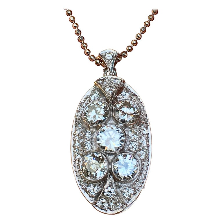 Pendant, White Gold, Art Deco, Diamond 4.75 Carat, IGI Certified For Sale