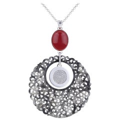 Pendant White Gold Carved Translucent Jade, Solitaire Diamond,Red Coral
