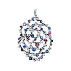 18 Karat White Gold Pendant with 1.01 Carat Diamonds Rubies Sapphires