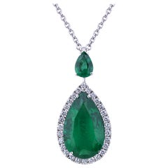 Pendant with a Certified Drop Emerald, Diamonds and Pear Cut Emerald on Top
