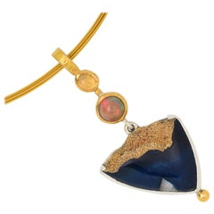 Pendant with Agate, Water Opal, Opal, 22 Karat Yellow Gold and Silver