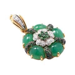 Pendant with Chrysophrase and Diamonds, 18 Karat Gold Tsavorites