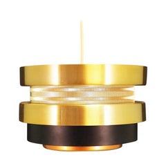Pendant Yellow Metal Lamp Vintage Danish Design, 1960s