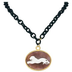 Pendent Panther Caméo Oval Necklace with Yellow Gold and Black Satin