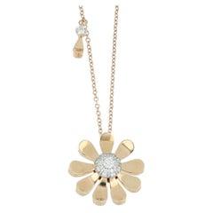 Pendant Rose Gold 18 Karat with White Diamond Color G Quality VS, Handmade