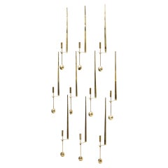 """Pendulum"" Brass Wall Mounted Candlesticks by Pierre Forssell, Set of 10"